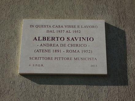 Commemorative plaque placed on the façade of the house where Alberto Savinio lived in Via Bruno Buozzi, Rome