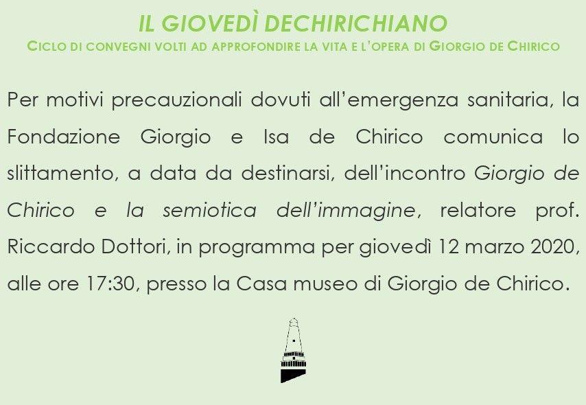 Giorgio de Chirico e la semiotica dell'immagine EVENTO RINVIATO A DATA DA DESTINARSI